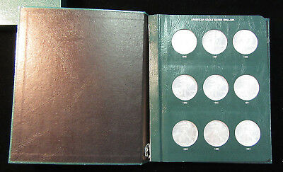 24 Coins - 1986 - 2009 $1 Silver Eagle Silver Dollars Set Uncirculated. (618197)