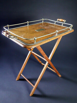 Vintage Scarce Art Deco Butler Serving Tray or Table with Brass & Wood Handles