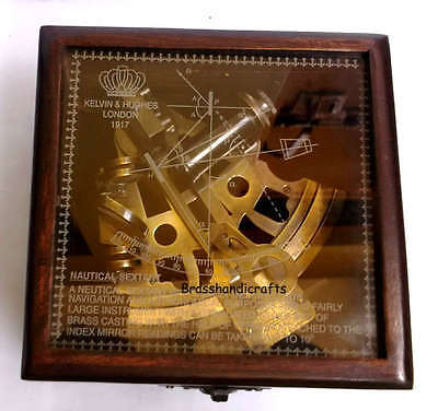 Vintage Reproduction Brass Nautical Sextant With Beautifull Wooden Box