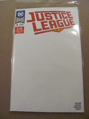 Justice League #1 DC Universe 2018 Series Snyder Blank Variant 9.6 Near Mint+