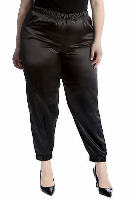 New Womens Plus Size Trousers Ladies Plain Satin Bottoms Elasticated Cuffed Pant