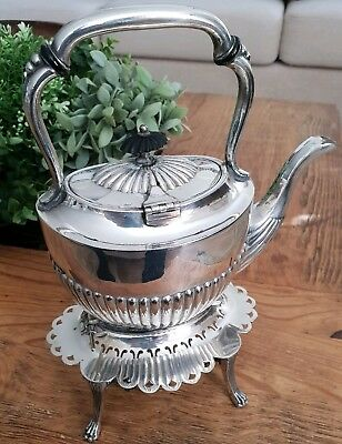 Antique Victorian Silver Plate Teapot and Spirit Burner