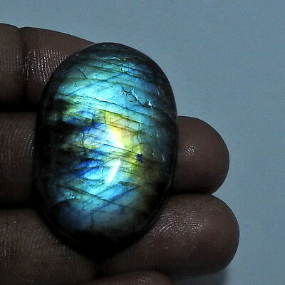 Natural Multi labradorite Cabochon Gemstone Oval 73.25cts.;#96363