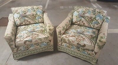 Pair of vintage armchairs - Square 60s design with funky bird fabric