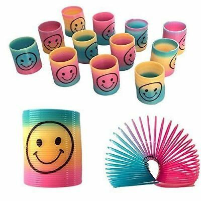 12PCS Mini Slinky Smiley Face Springs Rainbow Pinata Party Bag Filler KIDS TOY