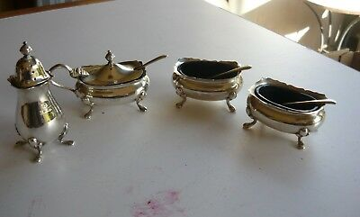 Collection of Adie Bros vintage sterling silver cruet items in excellent cond.