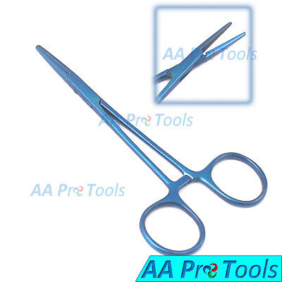 "AA Pro: Mosquito Hemostat Forceps 5"" Straight Blue Coated Stainless Steel"