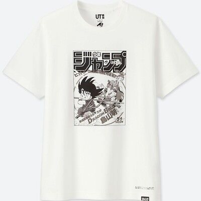 NEW Weekly Shonen Jump x Uniqlo Dragon Ball Men's T-SHIRT White Cover JAPAN F/S