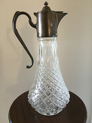 Cut Glass Claret Jug With Silver Plate Spout & Handle Made In England