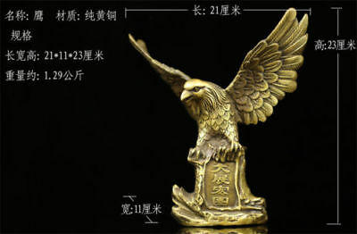 Chinese old antique brass statue hand made fengshui lucky eagle