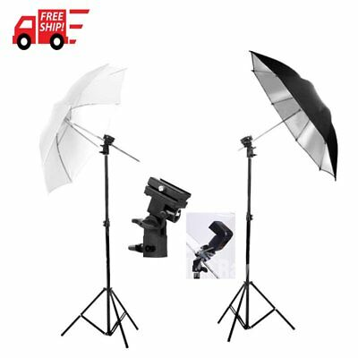 Photo Studio Flash Speedlight Umbrella Lighting Light Stand Kit + 2 Bracket AU