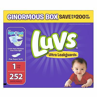 Luvs Ultra Leakguards Disposable Diapers Newborn Size 1, 252 Count, ONE MONTH