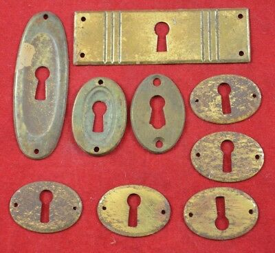 Antique Vintage Escutcheon Keyhole Cover Plate LOT of 9 pcs ORIGINAL