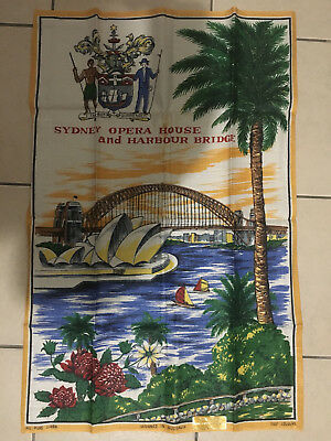 Vintage Sydney Opera House & Habour Bridge Pure Linen Tea Towel