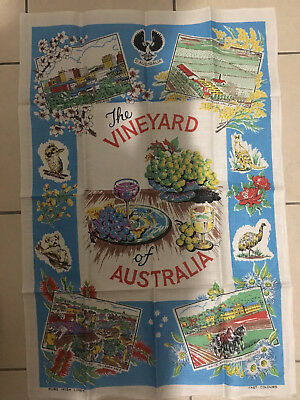 "Vintage South Australia ""The Vineyard of Australia""  Pure Linen Tea Towel"