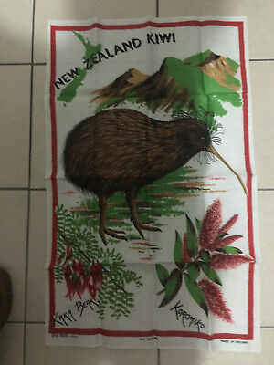 Vintage New Zealand Kiwi Pure Linen Tea Towel
