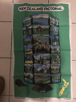 Vintage New Zealand Pictorial Pure Linen Tea Towel