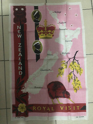 Vintage New Zealand Royal Visit Pure Linen Tea Towel 1950's 60's