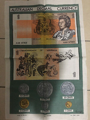 Vintage Australian Decimal Currency Pure Linnen Tea Towel