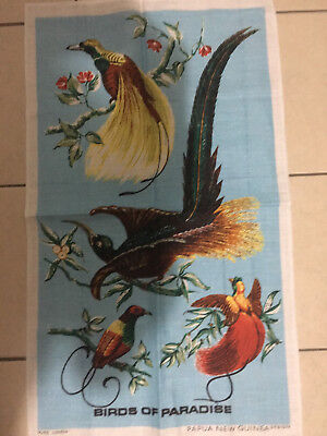 Vintage Birds of Paradise Papua New Guinea Pure Linnen Tea Towel