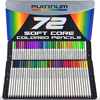 Platinum Drawing Media Soft Core Colored Pencils With Tin Case, Pack 72