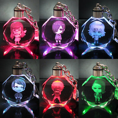 Tokyo Ghoul ken Crystal Key Chain LED light Pendant bling anime with box new