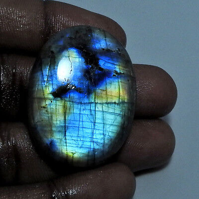 86cts. Natural Multi labradorite Cabochon Gemstone Oval ;#96364