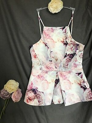 Womens Floral Ted Baker Inspired Summer Holiday Strappy Forever New Size 12