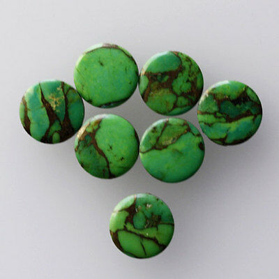 7MM Round Shape, Green Copper Turquoise Calibrated Cabochons AG-228
