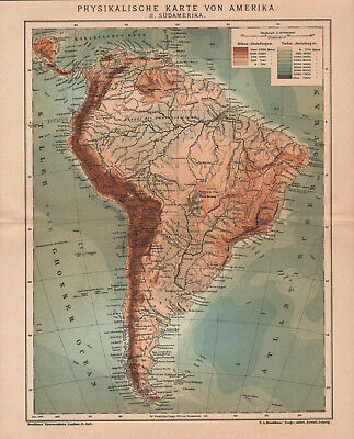 Antique map. SOUTH AMERICA. PHYSICAL MAP. 1904