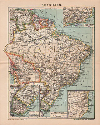 Antique map. BRAZIL. Circa 1900