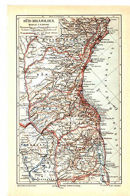 Antique map. BRAZIL. SOUTHERN BRAZIL. 1903