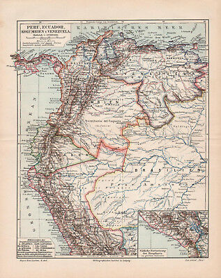 Antique map. PERU. ECUADOR. COLOMBIA. VENEZUELA. 1905