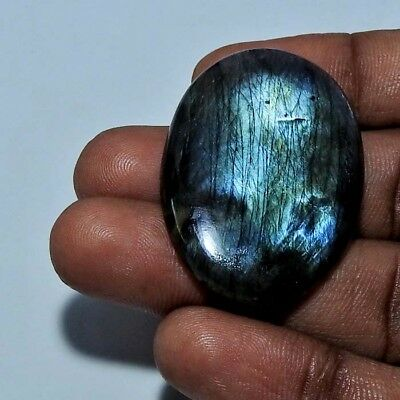 56.90 cts. Blue flash Blue labradorite Oval Cabochon  Gemstone ;#76007