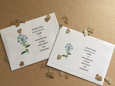 50 Funeral Seed Packets Envelopes Memorial Forget Me-not Remembrance