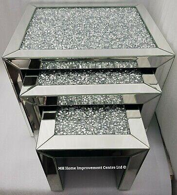 Mirrored Nest Tables Set of Three (3) Sparkly Silver Diamond Crush Bevelled