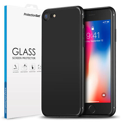 PROTECTIONSET Ultra Slim Matte Black Case Cover For Apple iPhone 5 6 7 8 Plus XS
