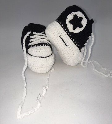 Baby Shoes/Crochet/ Black 9cm