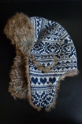 Trapper hat with faux fur trim