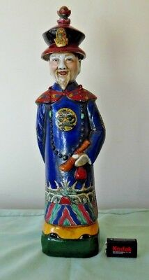 CHINESE MAN FIGURINE : QUING DYNASTY : VINTAGE FAMILLE ROSE : 38cms