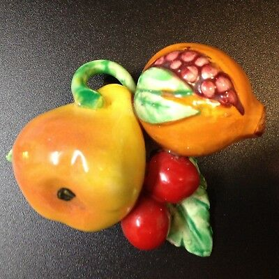 Vintage Ceramic Fruits - Wall Hang, Hand Painted, Hand Crafted.  Repaired Leaf