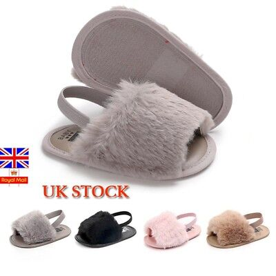 UK Toddler Baby Girls Kid Soft Sole Sandal Plush Slide Anti-slip Pram Crib Shoes