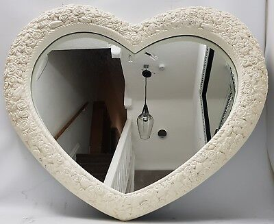 Love Heart Shape Antique French Style Large Cream Wall Mirror Shabby Chic