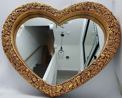 Love Heart Shape Antique French Style Large Gold Wall Mirror Shabby Chic
