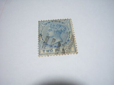 LAGOS-USED-1876- Scott #8-2p-blue-wmk 1-perf 14 -cv$15