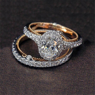 2PCS 925 Silver Women Jewelry White Topaz Wedding Proposal  Set Ring Size 5-10