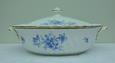 Lidded Tureen Serving Dish Bone China Crown Staffordshire F16580 Blue Flower