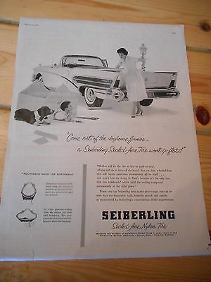 Seiberling Tire Ad, 1958, Chrysler Convertible, Neat Full Page Car Ad