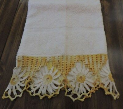 Vintage Crochet Edge Bath Towel.  White With Yellow & White  Crochet. So Pretty.