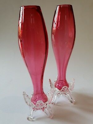 Pair of Victorian Cranberry Glass Vases with clear glass frill